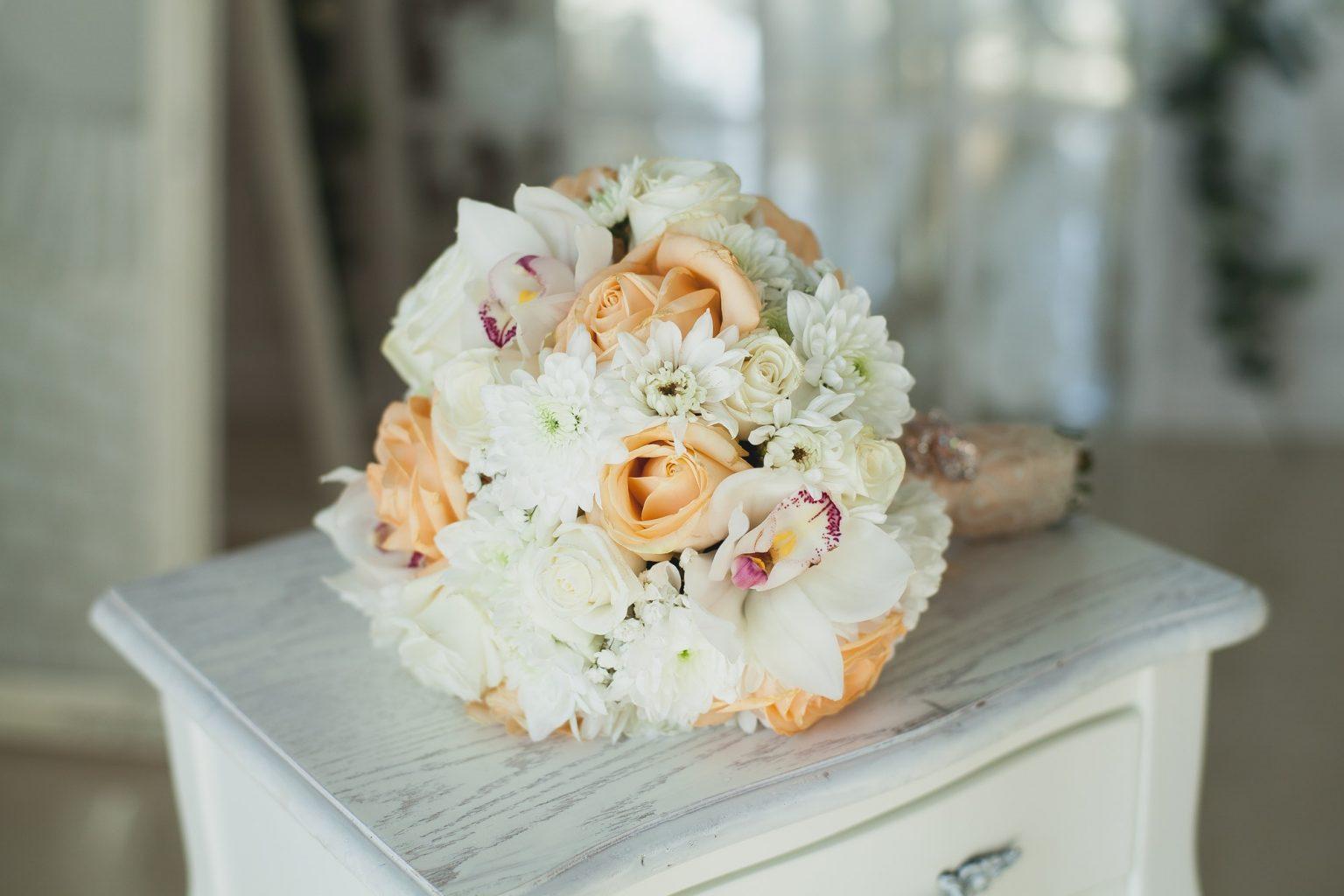 Wedding decor. Colored wedding bouquet on white background